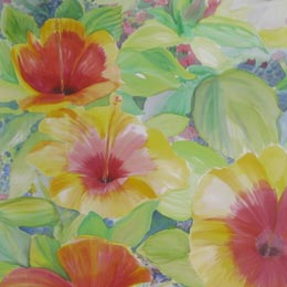 Ellen k gladis hand painted fabric art silk painting flower garden mightylinksfo